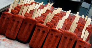 Strawberry popsicles in the former Pfizer Brooklyn facility