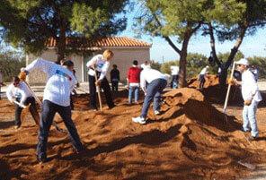 Greek Colleagues Brighten Rehab Center's Grounds