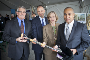 (l to r) Rod MacKenzie, Mikael Dolsten, MIT President Susan Hockfield and Mass. Governor Deval Patrick.