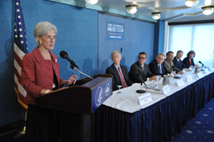 Health and Human Services Secretary Kathleen Sebelius (l.) at the recent press event in Washington, D.C.